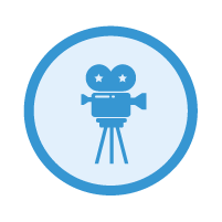 blue projecting icon