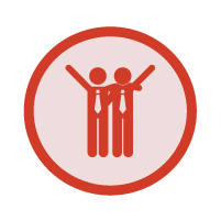 red uniting icon